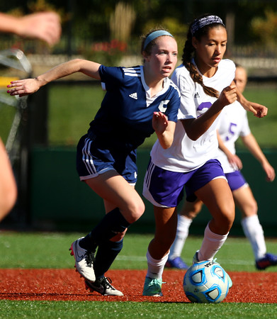 10-8-16<br /> Northwestern vs Lafayette Central Catholic girls soccer sectional<br /> LCC's Anna Weeks and Northwestern's Sasha Jocius.<br /> Kelly Lafferty Gerber | Kokomo Tribune