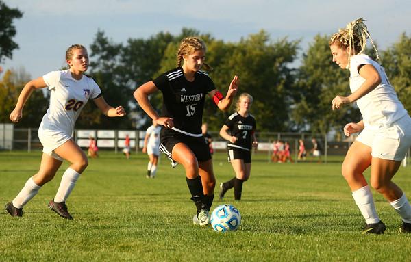 10-6-16<br /> Western vs Marion girls soccer<br /> Western's Jenna Seaman takes control of the ball.<br /> Kelly Lafferty Gerber   Kokomo Tribune