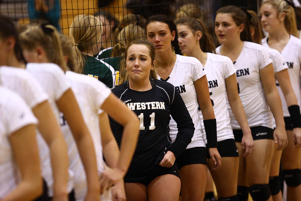 10-22-16<br /> Western vs Benton Central sectional vball championship<br /> Emily Jones tries to hold back tears after Western loses the sectional championship.<br /> Kelly Lafferty Gerber   Kokomo Tribune