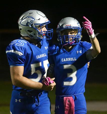 10-14-16<br /> Carroll vs Sheridan football<br /> Carroll's Wyatt Carmack (right) celebrates with John Lambert after Carmack scores a touchdown.<br /> Kelly Lafferty Gerber   Kokomo Tribune