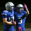 10-14-16<br /> Carroll vs Sheridan football<br /> Carroll's Wyatt Carmack (right) celebrates with John Lambert after Carmack scores a touchdown.<br /> Kelly Lafferty Gerber | Kokomo Tribune