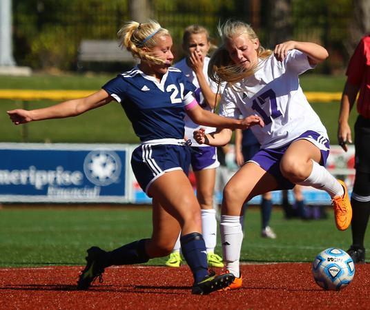 10-8-16<br /> Northwestern vs Lafayette Central Catholic girls soccer sectional<br /> LCC's Julie Blichmann and Northwestern's Olivia Hale.<br /> Kelly Lafferty Gerber | Kokomo Tribune