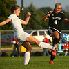10-4-16<br /> Western vs Kokomo girls soccer<br /> Kokomo's Emily Whiteman and Western's Faith Lytle battle over control of the ball.<br /> Kelly Lafferty Gerber | Kokomo Tribune