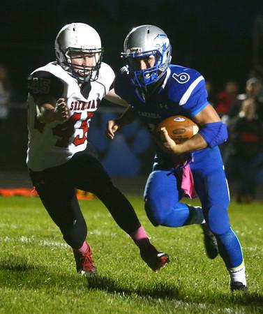 10-14-16<br /> Carroll vs Sheridan football<br /> Carroll's Trey Filbrun runs the ball and scores a touchdown.<br /> Kelly Lafferty Gerber | Kokomo Tribune