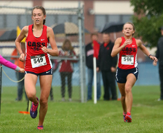 10-1-16<br /> Cross Country <br /> Cass' Miah Martin leads the way with fellow Cass cross country runner Alexis Jackson not far behind.<br /> Kelly Lafferty Gerber   Kokomo Tribune