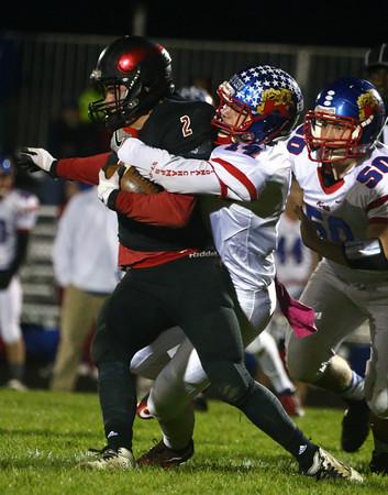 10-28-16<br /> Kokomo vs Huntington North football<br /> Luke Cameron takes down Huntington North's Mason Landrum.<br /> Kelly Lafferty Gerber   Kokomo Tribune