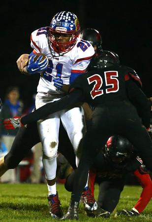 10-28-16<br /> Kokomo vs Huntington North football<br /> Brevin Beard tries to break through Huntington North's defense.<br /> Kelly Lafferty Gerber | Kokomo Tribune
