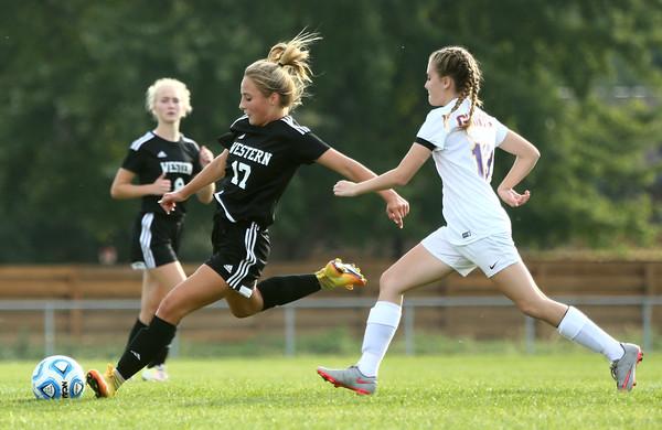 10-6-16<br /> Western vs Marion girls soccer<br /> Western's Sophie Weight kicks the ball.<br /> Kelly Lafferty Gerber   Kokomo Tribune