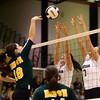 10-22-16<br /> Western vs Benton Central sectional vball championship<br /> Sophia Rogers and Hannah Merica reach up to block the ball.<br /> Kelly Lafferty Gerber | Kokomo Tribune