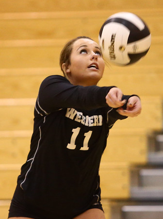 10-22-16<br /> Western vs Benton Central sectional vball championship<br /> Emily Jones passes the ball.<br /> Kelly Lafferty Gerber   Kokomo Tribune
