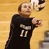 10-22-16<br /> Western vs Benton Central sectional vball championship<br /> Emily Jones passes the ball.<br /> Kelly Lafferty Gerber | Kokomo Tribune