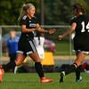 10-4-16<br /> Western vs Kokomo girls soccer<br /> Western's Faith Lytle is congratulated by teammate Alex Parr after Lytle scores a goal.<br /> Kelly Lafferty Gerber | Kokomo Tribune