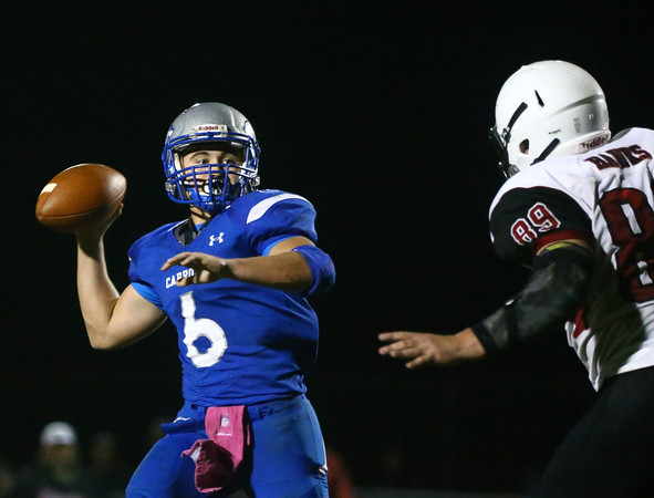 10-14-16<br /> Carroll vs Sheridan football<br /> Carroll's Trey Filbrun looks to throw a pass.<br /> Kelly Lafferty Gerber | Kokomo Tribune