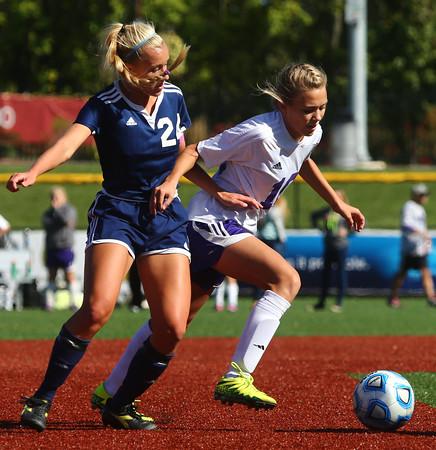 10-8-16<br /> Northwestern vs Lafayette Central Catholic girls soccer sectional<br /> LCC's Julie Blichmann and Northwestern's Kailey Kidwell.<br /> Kelly Lafferty Gerber   Kokomo Tribune