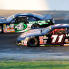 Don Knight | The Herald Bulletin<br /> Dalton Armstrong (4) passes John VanDoorn (71) on lap 185 during the Redbud 300 on Saturday. Armstron led 266 of the 300 laps.