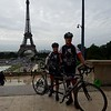 Arrived at the Eiffel Tower after a short ride down the Champs-Elysees