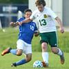 9-1-16<br /> Eastern vs Frankfort soccer<br /> Eastern's Cole Walker and Frankfort's Rigo Santos.<br /> Kelly Lafferty Gerber | Kokomo Tribune