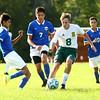 9-1-16<br /> Eastern vs Frankfort soccer<br /> Lucas VanMatre tries to maintain control of the ball.<br /> Kelly Lafferty Gerber | Kokomo Tribune
