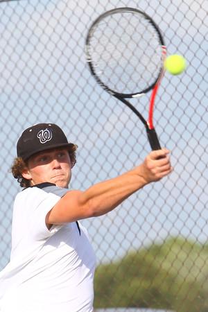 Boys Tennis between WHS and EHS on September 7, 2016.<br /> Western HS tennis #1 doubles Mason Anderson<br /> Tim Bath | Kokomo Tribune