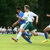 9-1-16<br /> Eastern vs Frankfort soccer<br /> Eastern's Joe Hawes and Frankfort's Nestor Montes run toward the ball.<br /> Kelly Lafferty Gerber | Kokomo Tribune