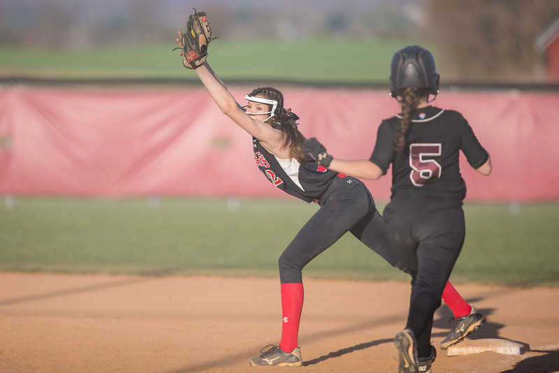 ERHS' Nicole Jefferson catches a ball at first.