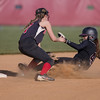 ERHS' Brianna Roach attempts to tag out Stuarts Draft's Sheridan Ruff at second.