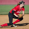 Madison Shifflett catches ground ball and prepares to throw to first base.