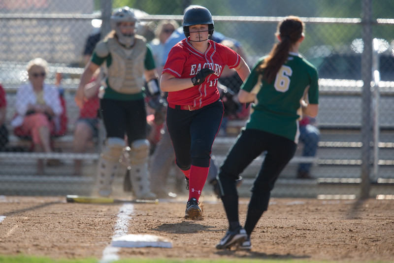 Jaclyn Gooden runs to first base after hitting a single.