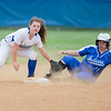 Danielle Soard attempts to tags out Fort's Mantha Smith at second.