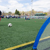 Leominster's Adriel Melendez kicks a soccer ball while competing in the Special Olympics at Fitchburg State's Elliot Field on Friday morning. SENTINEL & ENTERPRISE / Ashley Green