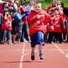 South Street Elementary's Rocco Pitre, 7, competes in the Special Olympics at Fitchburg State's Elliot Field on Friday morning. SENTINEL & ENTERPRISE / Ashley Green