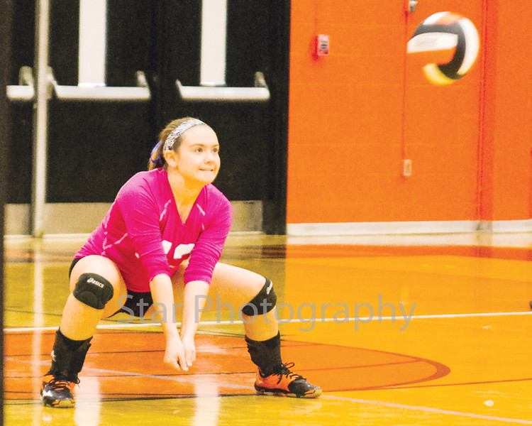 Star Photo/ Larry N. Souders<br /> The Lady Cyclones' Mary Beth Biggs (43) digs a serve to setup a shot for her teammates against the Lady Patriots of Sullivan East Thursday night.