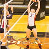 Star Photo/ Larry N. Souders<br /> The Lady Cyclones' Madyson Smith (3) back sets a kill shot for a team mate during Thursday nights match against the Lady Patriots of Sullivan East.