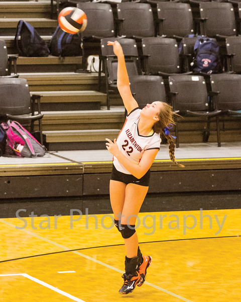 Star Photo/ Larry N. Souders<br /> Elizabethton senior Macey Burleson (22) delivers an ace on this serve in the first game of Thursday nights match against the Lady Patriots of Sullivan East.