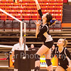 Star Photo/Larry N. Souders	<br /> The Lady Cyclones Sara Slagle (20) soars high for a spike in the first match against Unicoi Tuesday night.