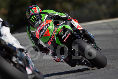 Tom Sykes GBR Kawasaki ZX-10R Kawasaki Racing Team, The Motul FIM Superbike World Championship, GEICO Motorcycle U.S. Round, featuring the Honda Superbike Showdown of California at Mazda Raceway Laguna Seca