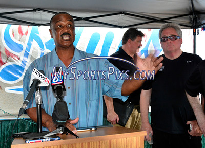 7/14/2016 Mike Orazzi | Staff Hall of Fame baseball player and former Bristol Red Sox baseball player Jim Rice while at Muzzy Field in Bristol Thursday.