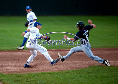 7/14/2016 Mike Orazzi | Staff Bristol Blues' Tyler Roberts (5) tags Worcester Bravehearts' Dante Ricciardi (5) at second.