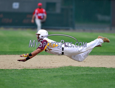 5/14/2016 Mike Orazzi   Staff New Britain's Jakari Pellegrini (4) on his way to being tagged out at at second  Saturday at Bee Hive Stadium in New Britain.