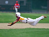 5/14/2016 Mike Orazzi | Staff<br /> New Britain's Jakari Pellegrini (4) on his way to being tagged out at at second  Saturday at Bee Hive Stadium in New Britain.