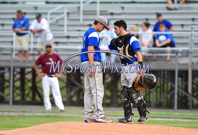 6/7/2016 Mike Orazzi | Staff Bristol Eastern's Tyler Troth (17) and Gregory Lozier (4) during the Class L Semifinal baseball game with East Lyme at Palmer Field in Middletown Tuesday night.