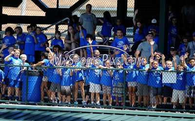 7/19/2016 Mike Orazzi | Staff Children from local camps during the T-shirt toss during the Bristol Blues Game with the Brockton Rox at Muzzy Field on Tuesday.
