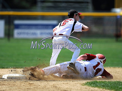 8/12/2016 Mike Orazzi   Staff Connecticut's Richie Kerstetter (14) forced out at second while sliding under Massachusetts' Tyler McChesney (5) at second base during the Eastern Regional Little League Tournament at Breen Field Friday.