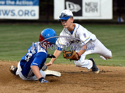 8/13/2016 Mike Orazzi | Staff Pennsylvania Keystone Little League's Cy Probst (26) as New York Maine Endwell's Jude Abbadessa (24) dives with the tag during the Mid-Atlantic Final during the Eastern Regional Little League Tournament in Bristol Saturday evening.