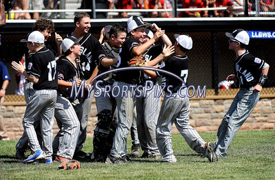 8/13/2016 Mike Orazzi | Staff Rhode Island celebrates after winning the New England Final at the Eastern Regional Little League Tournament in Bristol Saturday afternoon. Warwick North defeated Fairfield American 5-1 to advance to the Little League World Series.