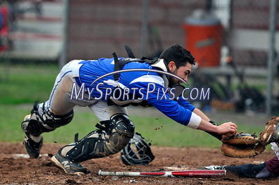 5/5/2016 Mike Orazzi   Staff Bristol Eastern's Greg Lozier (4) puts the tag on Bristol Central's Jaeden Rasmus (6) at home plate BC Thursday afternoon.