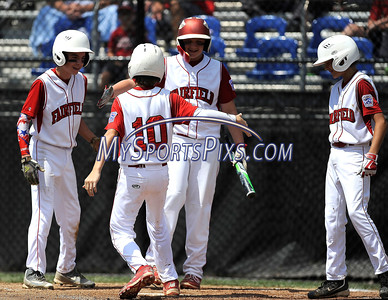 8/11/2016 Mike Orazzi   Staff Fairfield American's Matthew Sawyer (10) rounds the bases after his home run during the Eastern Regional Little League Tournament on Thursday.
