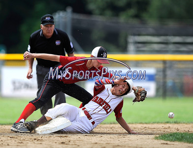 8/11/2016 Mike Orazzi   Staff New Hampshire's Ryan Juliano (3) waits for the ball as Fairfield American's Ryan McIntosh (5) slides into second during the Eastern Regional Little League Tournament on Thursday.