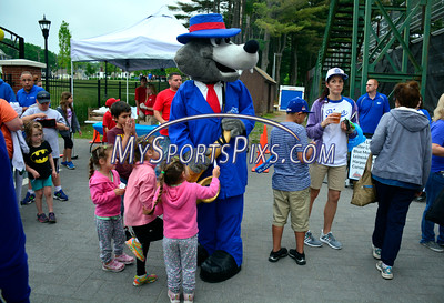 6/3/2016 Mike Orazzi | Staff  Bristol Blues Mascot BB greets fan at the home opener of the Bristol Blues at Muzzy Field Friday night.