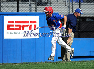 8/7/2016 Mike Orazzi | Staff New Jersey's Jonathan Olik after his home run during the Eastern Regional Little League Tournament in Bristol Sunday.